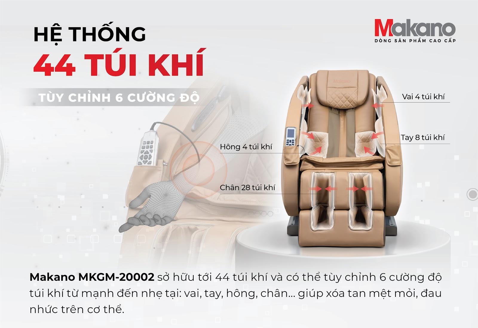 ghế massage MKGM-20002 sở hữu hệ thống 44 túi khí