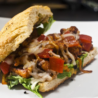 Spicy Chipotle Chicken Sandwich with roasted red peppers and gaucamole on garlic and herb focaccia.