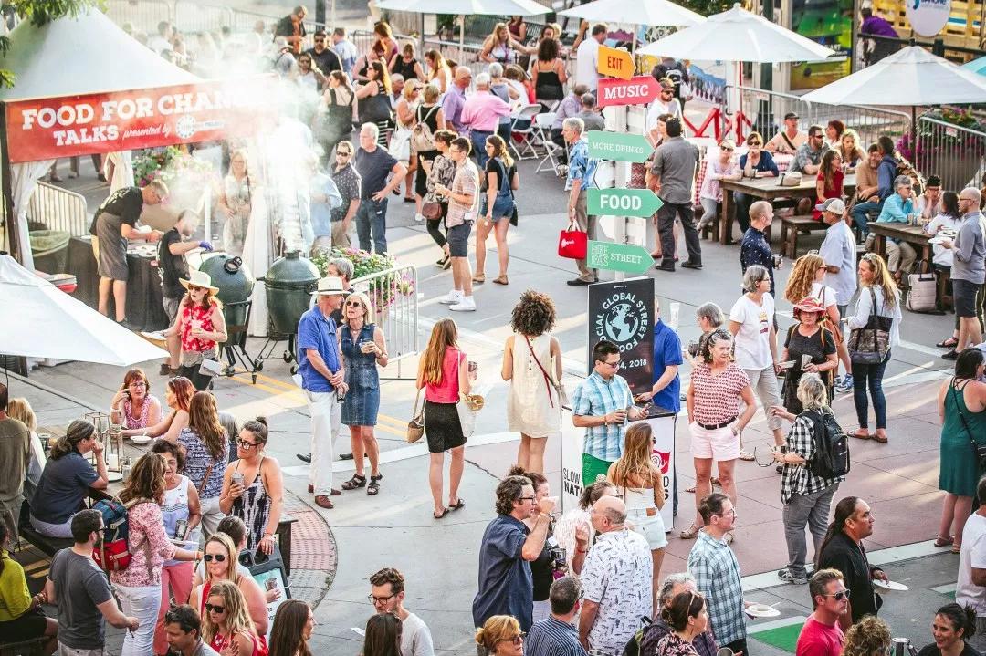 A crowd of people enjoying Slow Food Nations' Taste Marketplace