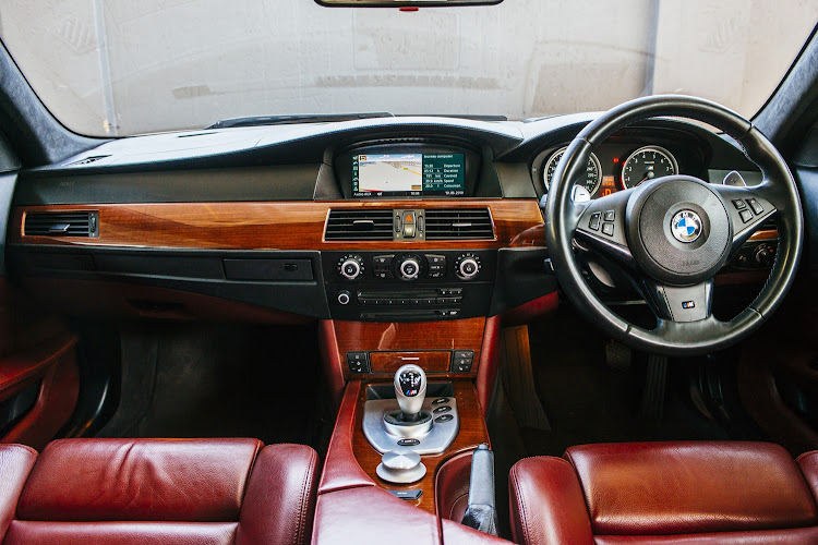 The interior of the BMW E61 M5.