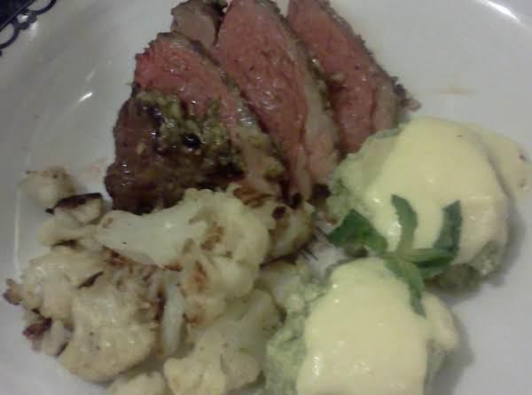 Lamb W/ Mint Basil Pesto, Asparagus Flan, Cauliflo
