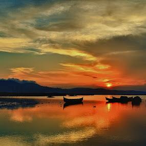 SILENT by Tamin Ibrahim - Landscapes Sunsets & Sunrises ( sunset, lake, boat )