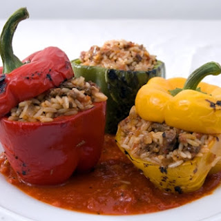 Stuffed Peppers with Spicy Marinara.