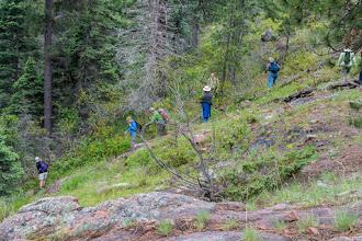 Photo: Group descending to Lower Resumidero Falls; PEEC Waterfall Hike