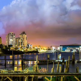 Itajaí at Night by Rqserra Henrique - City,  Street & Park  Night ( clouds, brazil, builds, rqserra, night, boat, light, man, reflexes, city )