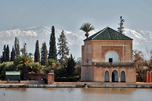 The Pavilion at Menara Gardens, a public city park in Marrakesh, Morocco. The area is a UNESCO World Heritage site.