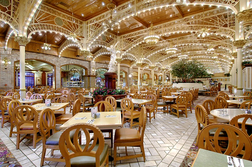 The retro victorian decor inside the Garden Court Buffet with lots of table where customers can eat their cheap buffet meals inside the Main Street Station Hotel and Casino in Las Vegas