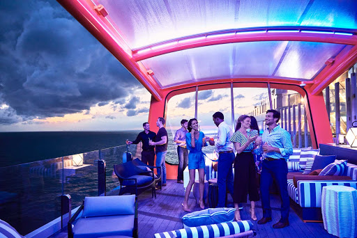 The Magic Carpet serves as a social lounge that extends off the side of Celebrity Edge and Celebrity Apex.