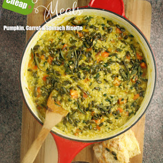 Pumpkin, Carrot & Spinach Risotto with Roasted Sage & Pumpkin Seeds