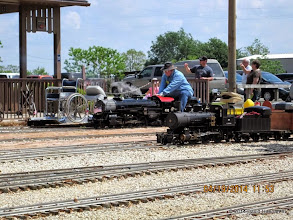 Photo: Pete Greene on TSR #400 with L.V.R.R. #99 in foreground.     HALS Public Run Day 2014-0419 DH3
