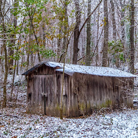 Forgotten shed by Jim Harris - Buildings & Architecture Decaying & Abandoned ( country, shed, fall snow, hillside, fall, leaves, barn, snow, garage, abandoned, old barn )