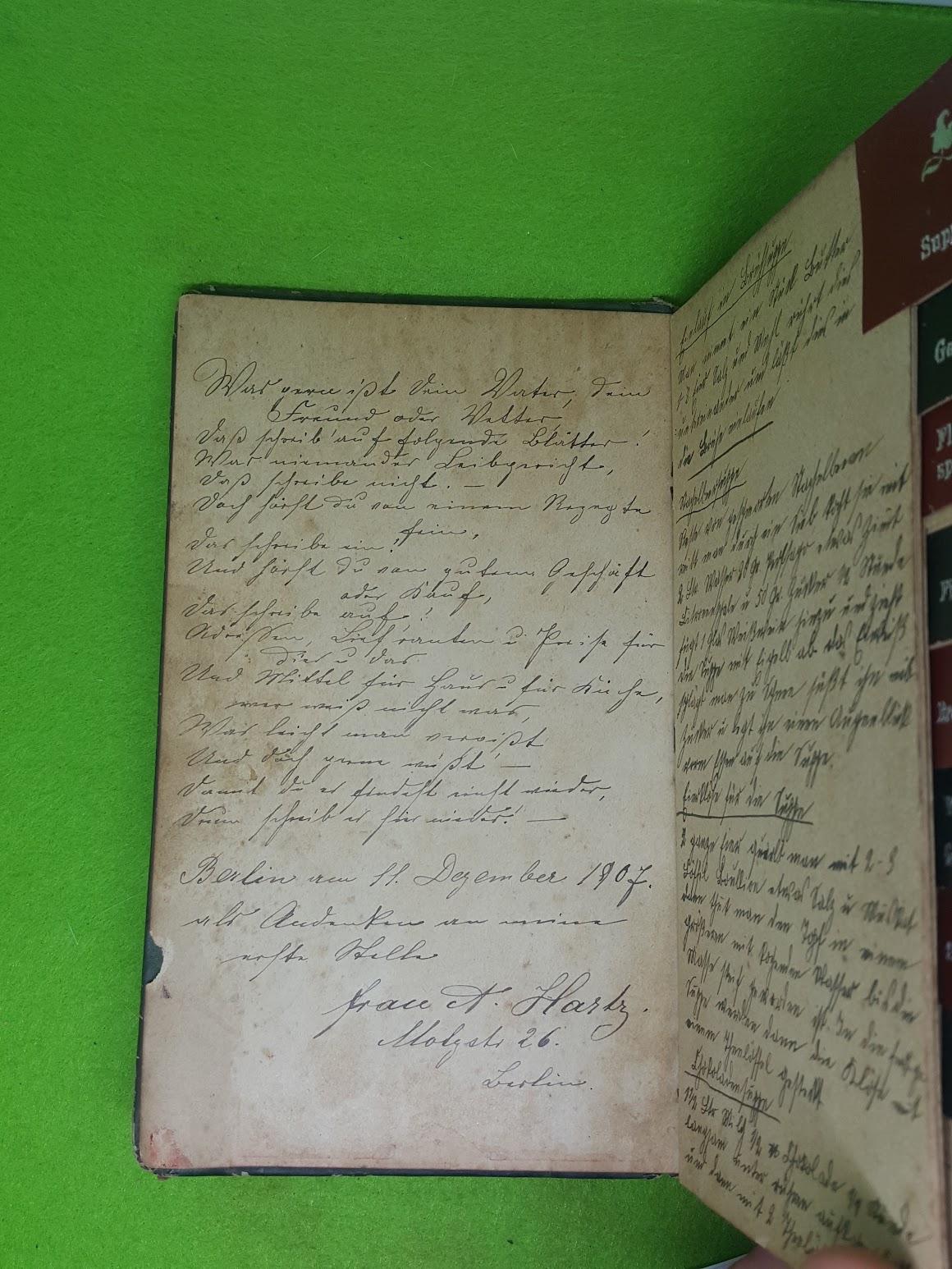 Rezeptbuch von 1907