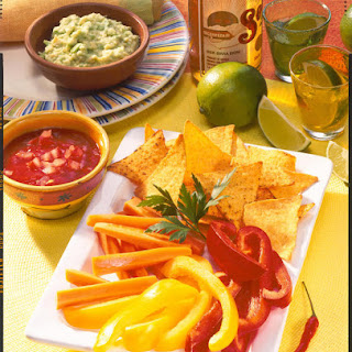 Crudités and Tortilla Chips with Dips.