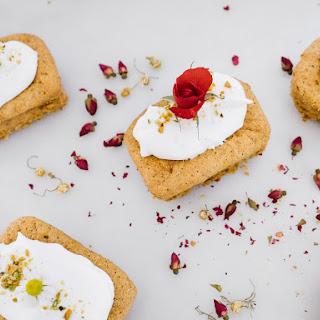 Mini Pistachio-Rose Olive Oil Cakes w/Lemon-Chamomile Whipped Cream.