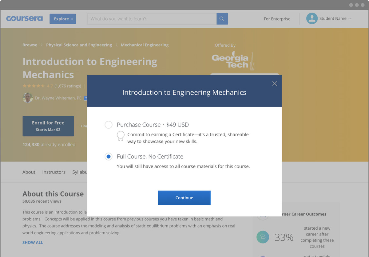 Coursera screenshot - No Certificate