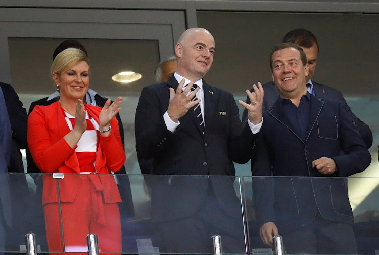Croatia president Kolinda Grabar-Kitarovic, FIFA president Gianni Infantino and Prime Minister of Russia Dmitry Medvedev in the stand before the match.