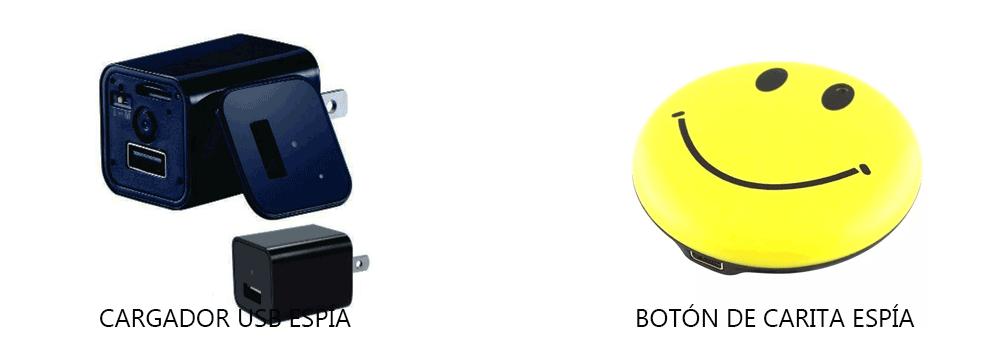 cargador usb y boton de carita espia