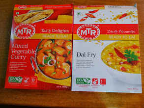 Photo: For the first time, we tried these MTR's ready to eat dishes. Dal Fry was creamy, while Mixed Vegetable was rich and both went well with chapati. Around 50Rs. each packet.  17th February updated - http://jp.asksiddhi.in/daily_detail.php?id=457