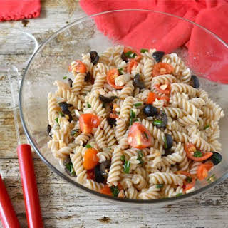 Sicilian Pasta Salad with Tomatoes, Olives & Fresh Herbs.