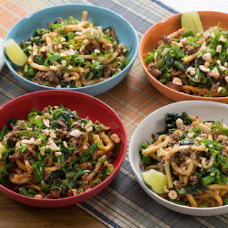 Stir-Fried Beef & Udon Noodles with Gai Lan & Thai Basil