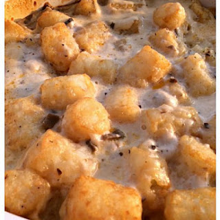 Tator Tot Casserole with Ground Sausage.