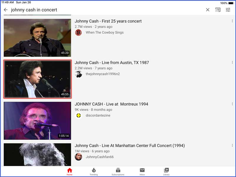 youtube app - live music performances for dementia