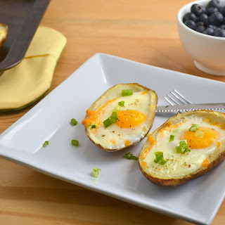 Baked Eggs in Potato Skins.