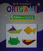 Photo: Origami Enjoy with paper Early Learner Publications 2003 16 pp softcover  Whale, Acorn, Purse, Hut, Sparrow, Blue Fish, Parrot, Table, Cup, Bench, Rolling Toy, Letter Rack, Lady Purse, House & Trees, & Duck