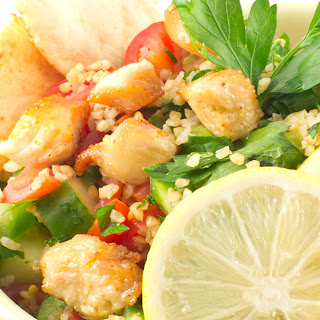 Citrus Marinated Chicken and Quinoa Salad with Pita Chips