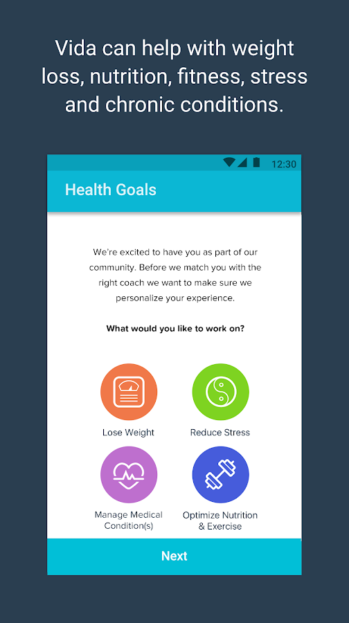 Vida Health Coach- screenshot