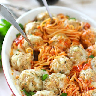 Baked Spaghetti and Chicken Parmesan Meatballs
