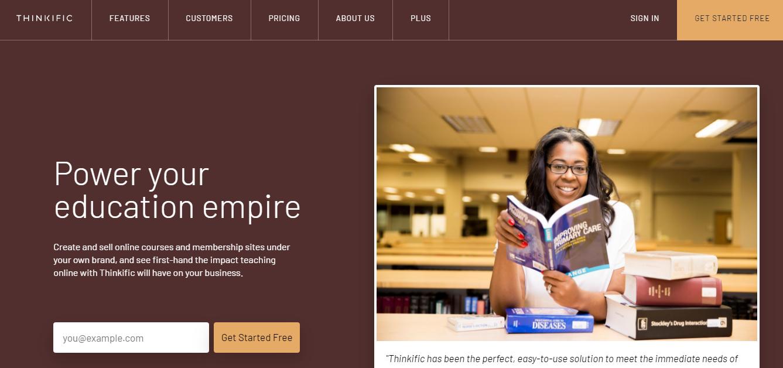 Thinkific Website Builder Homepage