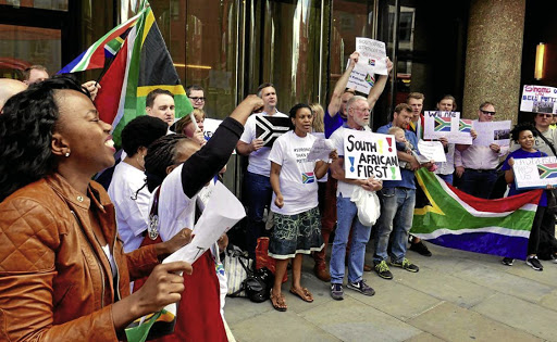 PROTESTS A London demonstration against Bell Pottinger PR agency in July Picture: Democratic Alliance Abroad