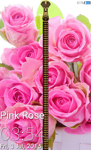Pink Rose Zipper Lock Screen