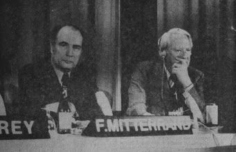 """Photo: DAVOS/SWITZERLAND, JAN 1976 - (fltr) François Mitterrand, Secretary General of the French Socialist Party and Edward Heath, former Prime Minister, United Kingdom captured during the European Management Symposium, the predecessor of the World Economic Forum in Davos in 1976.Copyright <a href=""""http://www.weforum.org"""">World Economic Forum</a> (<a href=""""http://www.weforum.org"""">http://www.weforum.org</a>)"""
