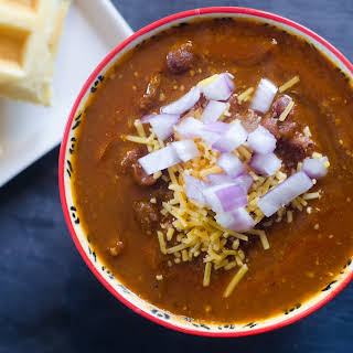 Instant Pot Stew Beef Chili with Cornbread Waffles.