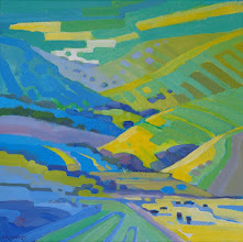 "Photo: ""Purple Cows"", acrylic on canvas 12"" x 12"", © Nancy Roberts"