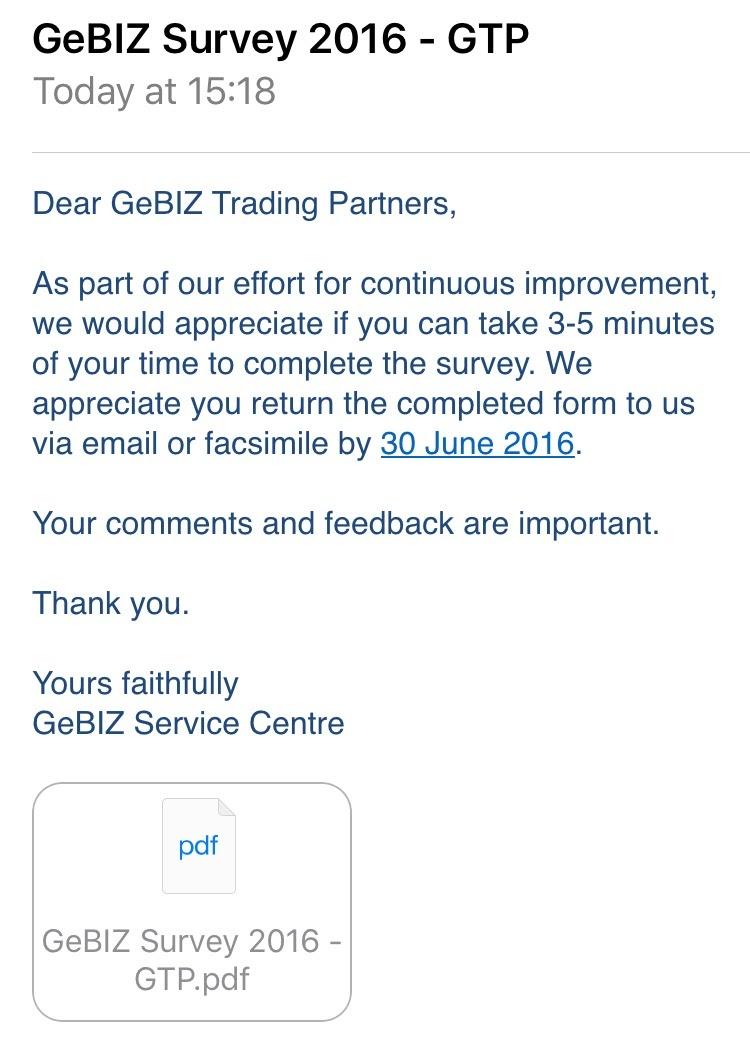 Gebiz email requesting for survey returns.