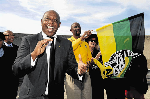 Tokyo Sexwale with the Nelson Mandela Bay ANC regional chairman, Nceba Faku, and ANC Veterans League members at the Emlotheni memorial site. File photo.