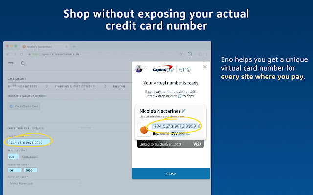 Capital one credit card number on app
