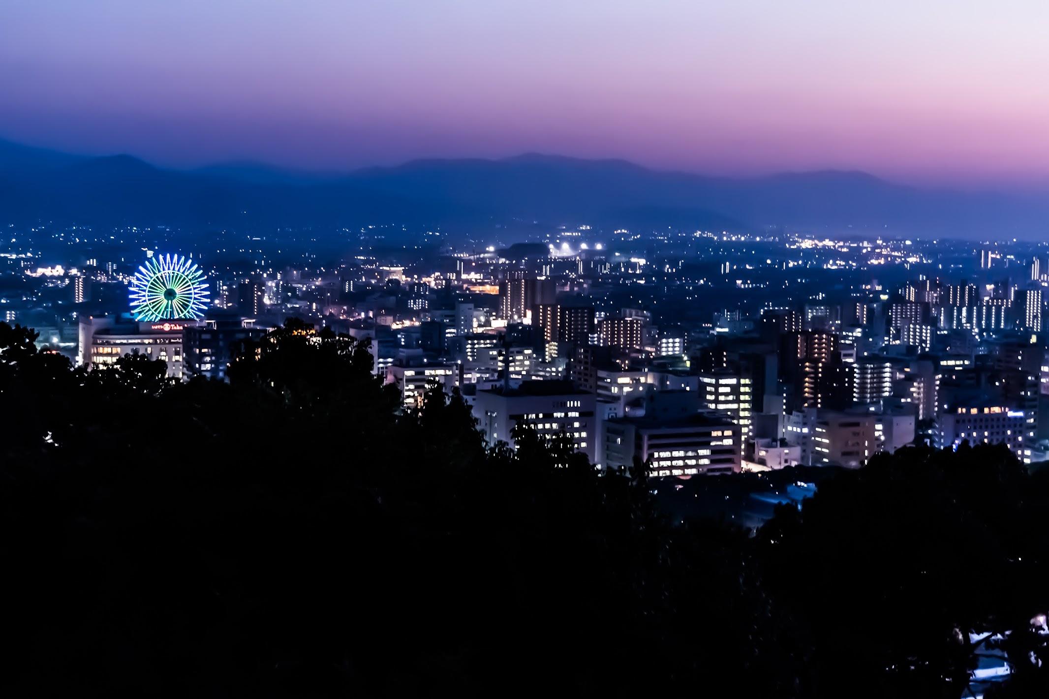 Matsuyama city night view ferris wheel