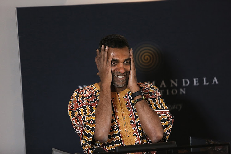 The new Secretary General of Amnesty International, Kumi Naidoo,speaks at a press conference, in Houghton, Johannesburg.