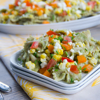 Corn, Feta, and Chive Pasta Salad with Avocado Dressing.