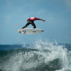 Surfer high jump by Leticia Cox - Sports & Fitness Surfing ( water sports, surfer, waves, action, beach,  )