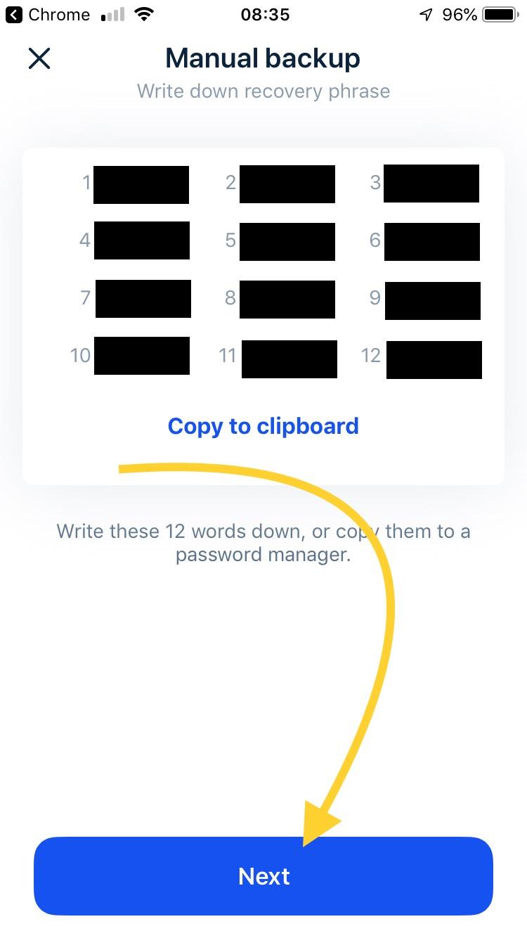 Ręczne zapisanie listy słówek do odzyskania dostępu do portfela
