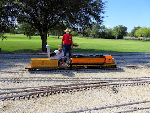 Photo: Brian Campopiano checking out his BNSF 2008 while Art Morris looks on at 10:49 AM      HALS Public Run Day 2015-0919 RPW