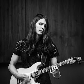 Guitarist by Jamie Ledwith - People Musicians & Entertainers ( b&w, fender, black and white, girl, guitarist, guitar )