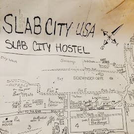 Invite to Slab City by Brandon Stout - Drawing All Drawing ( folkart, art, dystopian, folk, desert, map, slabs )