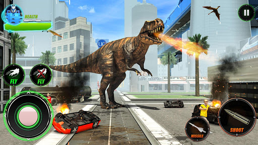 Wild Dinosaur Rampage : Flying Robot Shooting Game android2mod screenshots 7