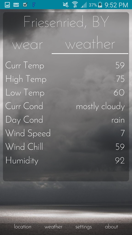 Wear Weather- screenshot